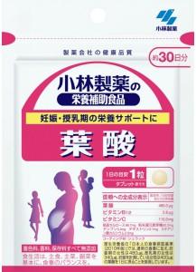 KOBAYASHI Фолиевая кислота+Витамин B12+Витамин C для беременных и кормящих 30дн