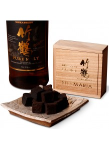 """ЖИВОЙ шоколад ручной работы SILSMARIA """"Виски"""" в деревянной коробке"""
